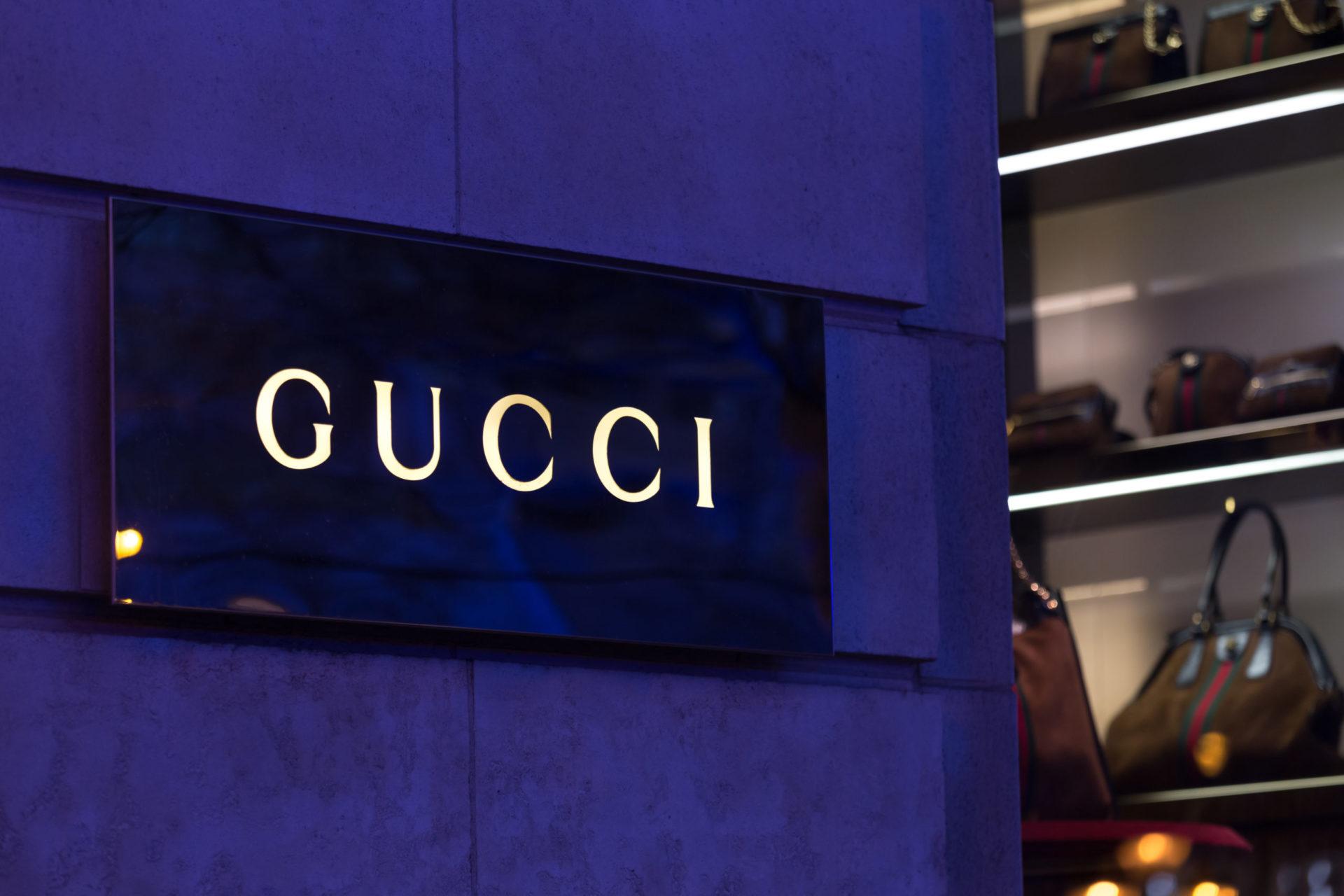 brussels, brussels/belgium - 13 12 18: gucci store sign in brussels belgium